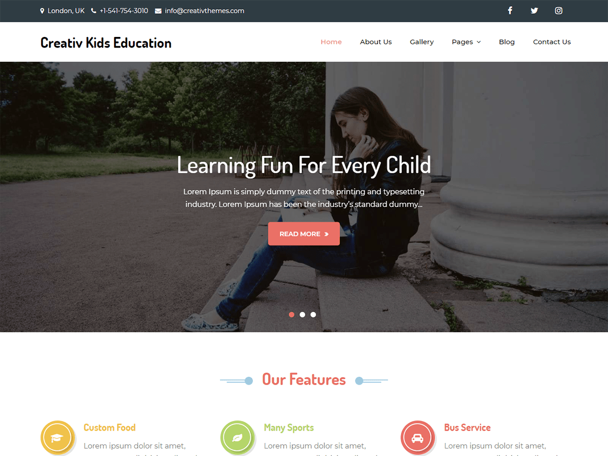 Creativ Kids Education Download Free Wordpress Theme 1