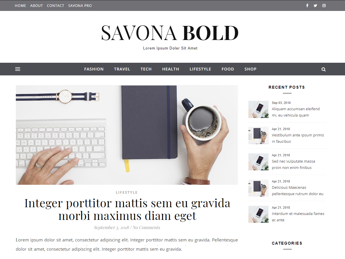 Savona Bold Download Free Wordpress Theme 3