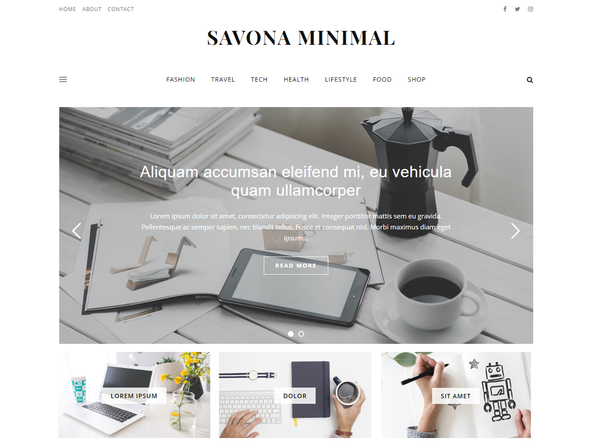 Savona Minimal Download Free Wordpress Theme 1