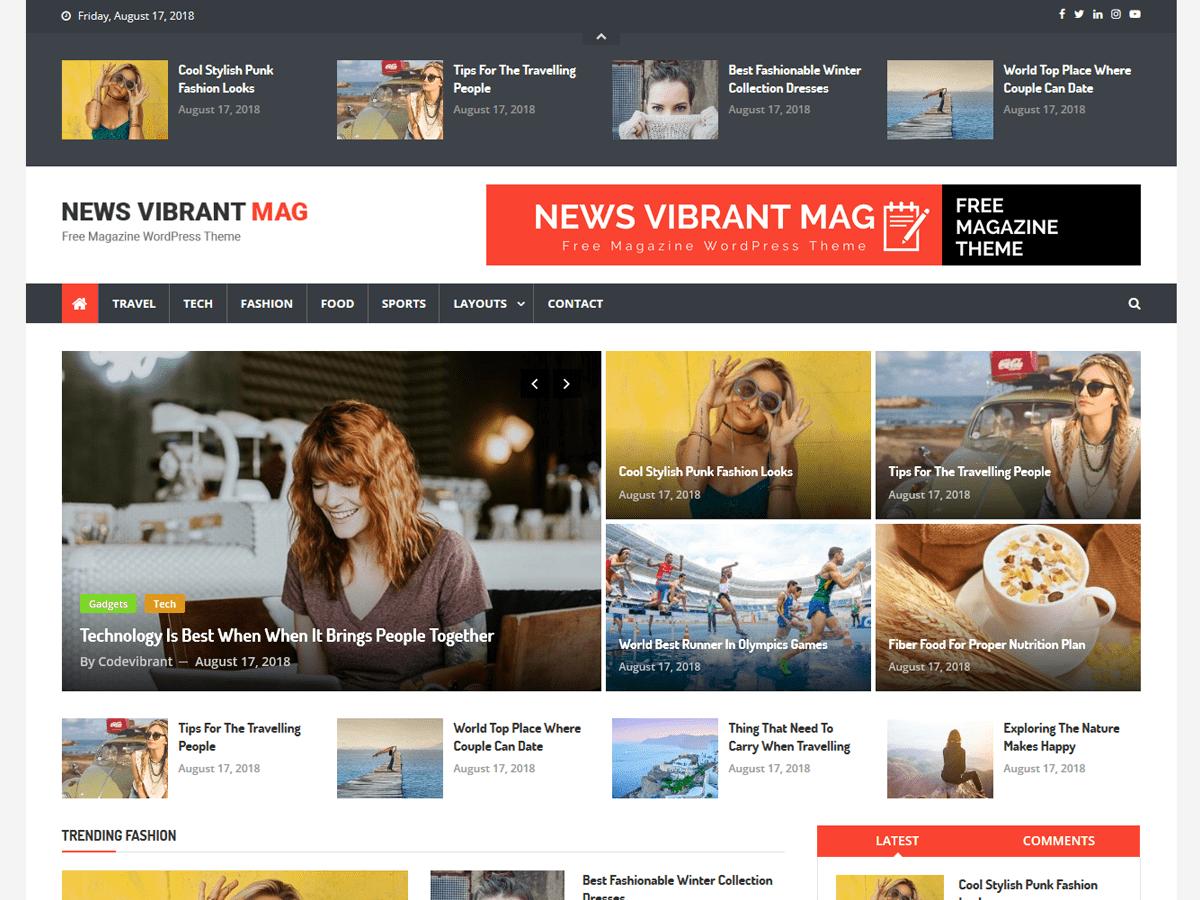 News Vibrant Mag Download Free Wordpress Theme 2