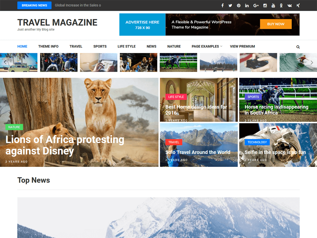 Travel Magazine Download Free Wordpress Theme 2