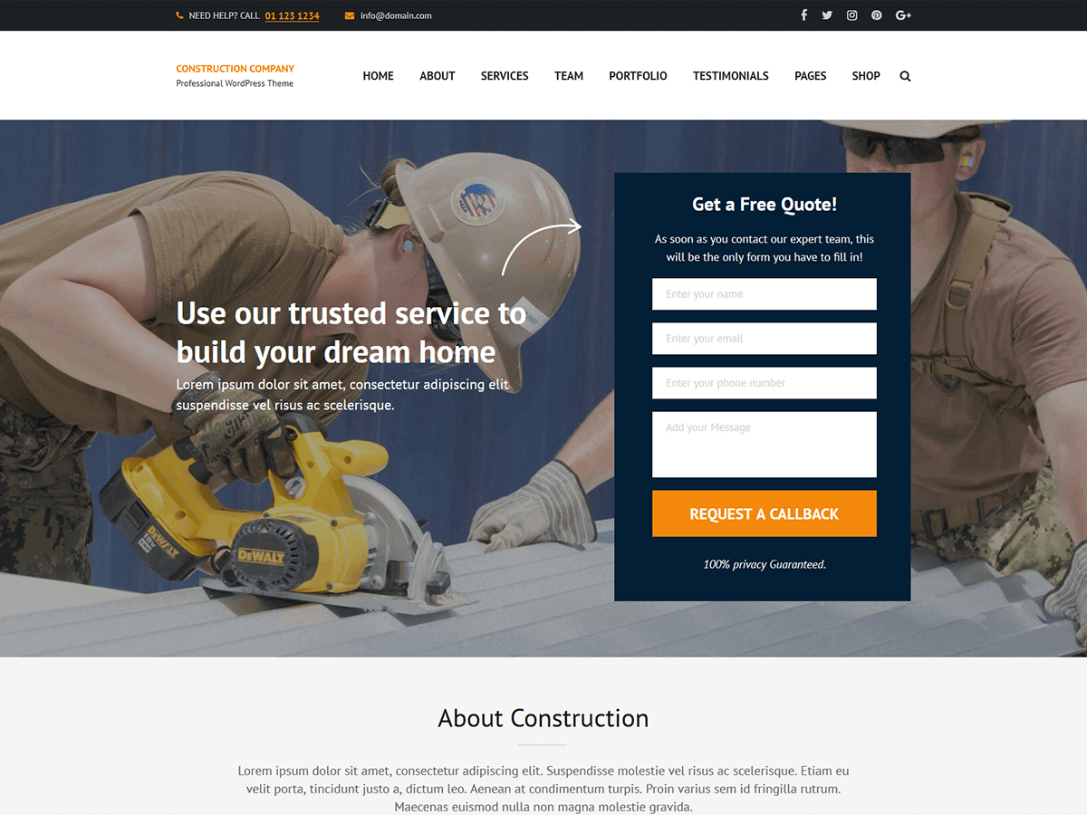 Construction Company Download Free Wordpress Theme 4