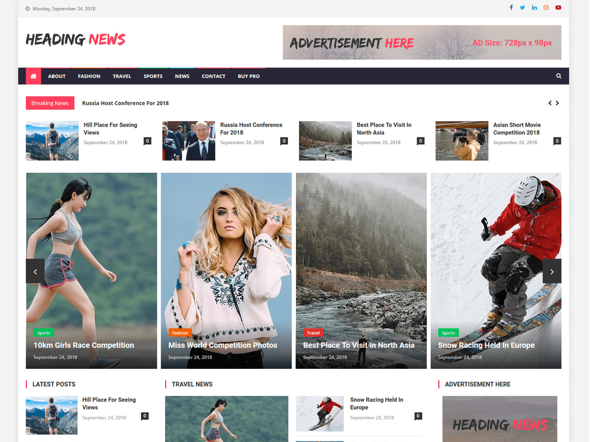 Heading News Download Free Wordpress Theme 3