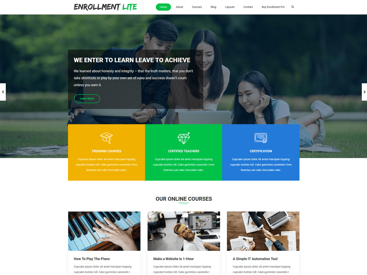 Enrollment Lite Download Free Wordpress Theme 3