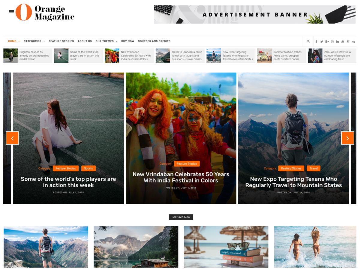 Orange Magazine Download Free Wordpress Theme 1