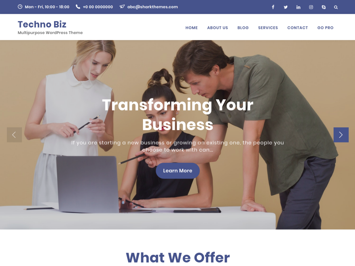 Techno Biz Download Free Wordpress Theme 1