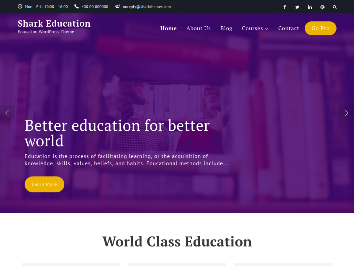 Shark Education Download Free Wordpress Theme 4