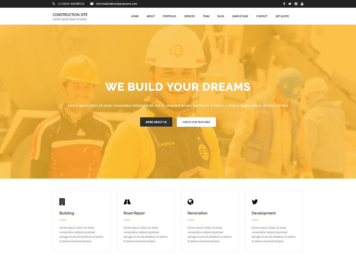 Construction Site Download Free Wordpress Theme 3