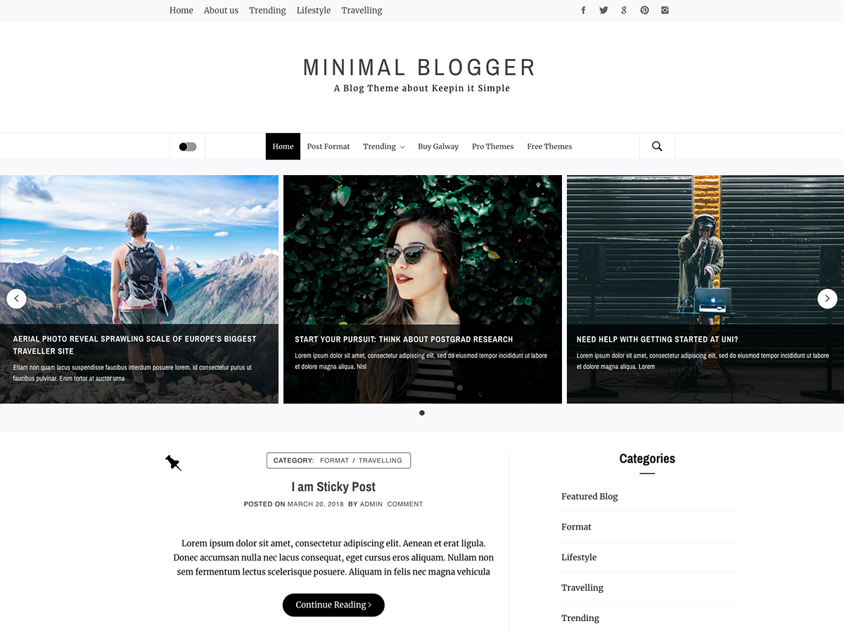 Minimal Blogger Download Free Wordpress Theme 4