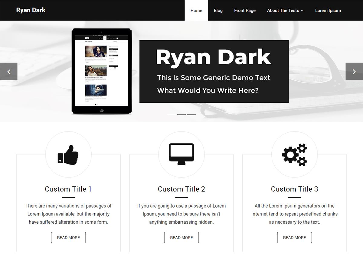 Ryan Dark Download Free Wordpress Theme 2
