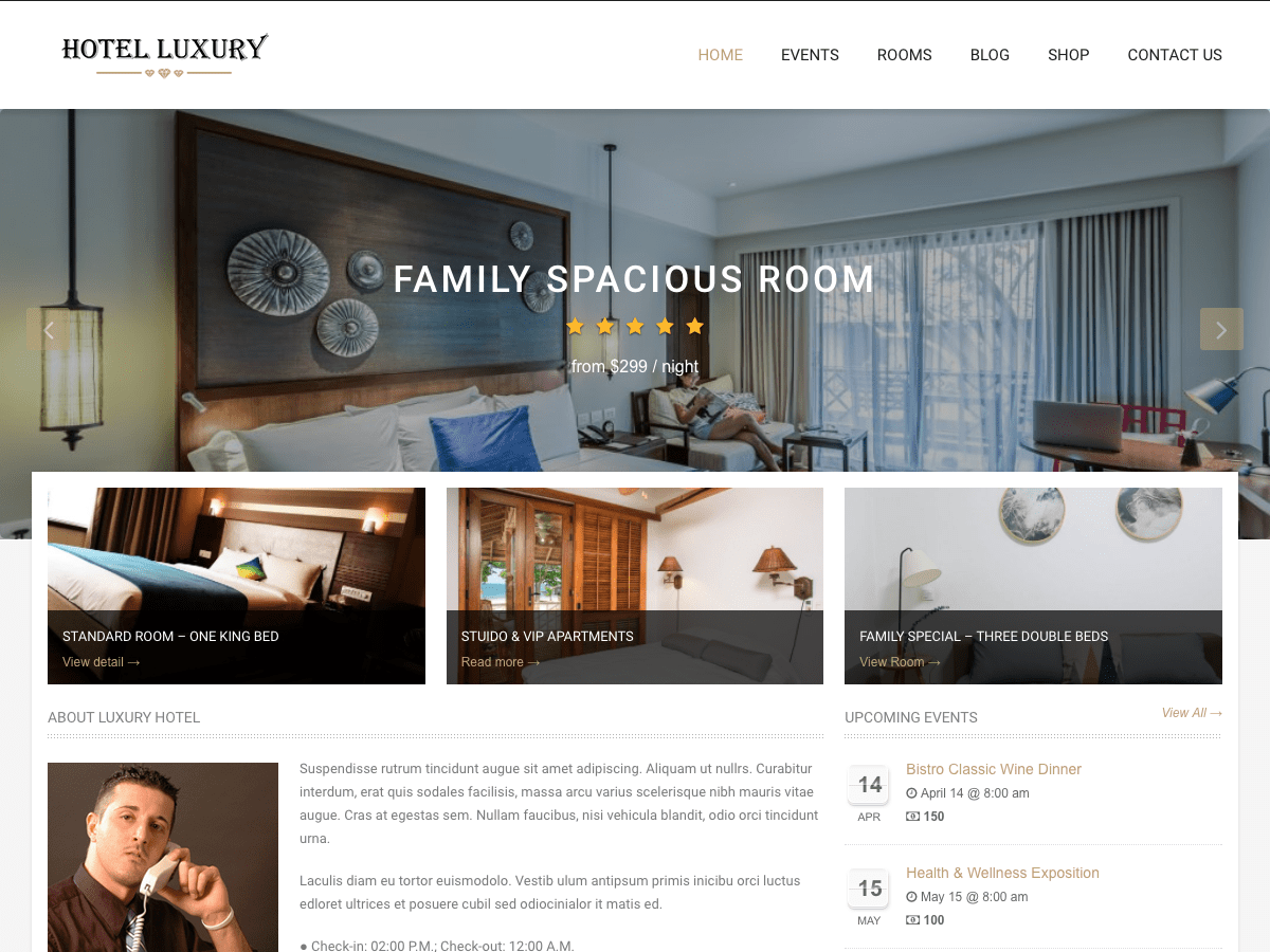 Hotel Luxury Download Free Wordpress Theme 3