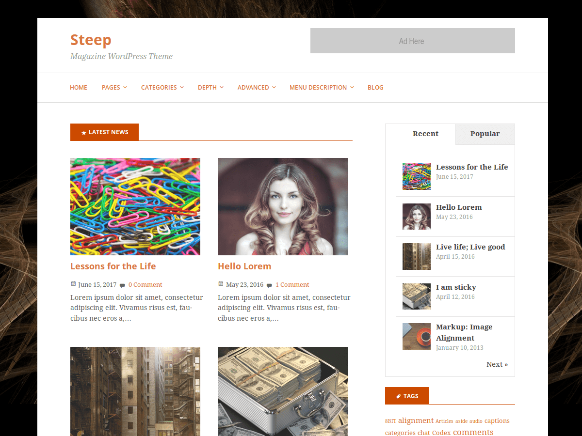 Steep Download Free Wordpress Theme 1