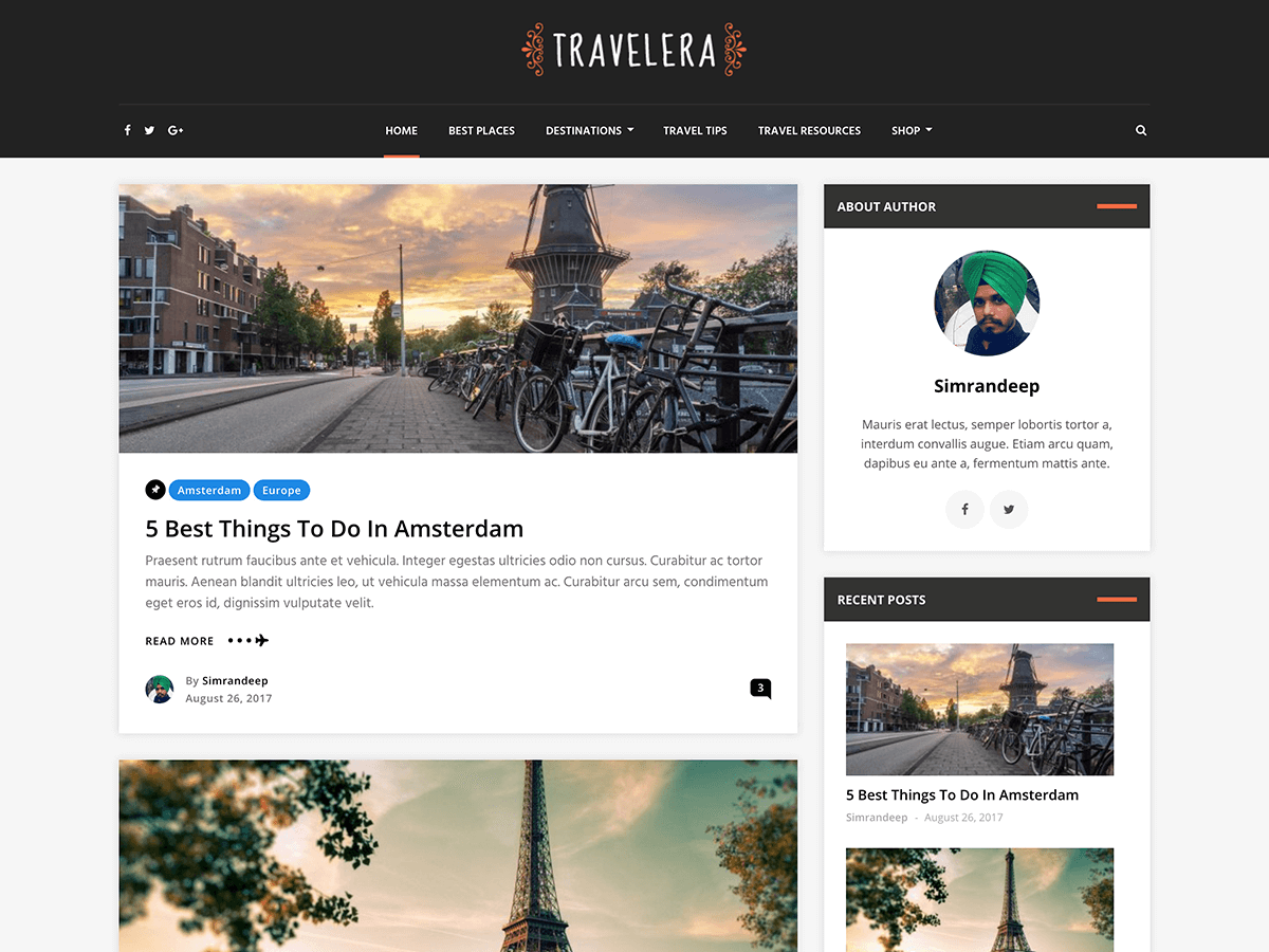 Travelera Lite Download Free Wordpress Theme 2