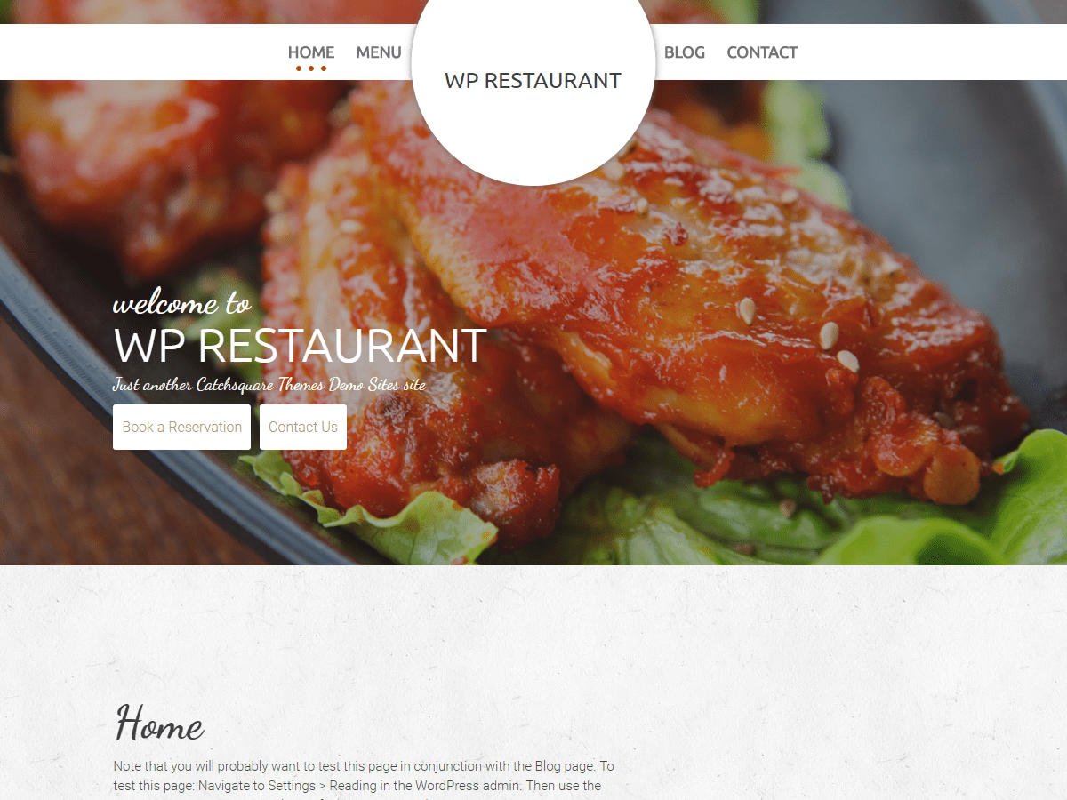 WP Restaurant Download Free Wordpress Theme 3