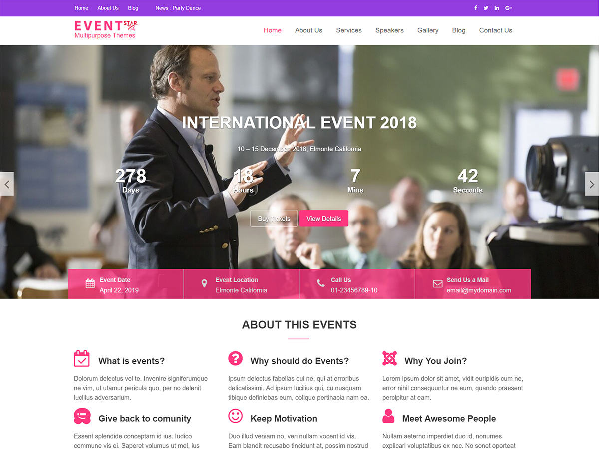 Event Star Download Free Wordpress Theme 5