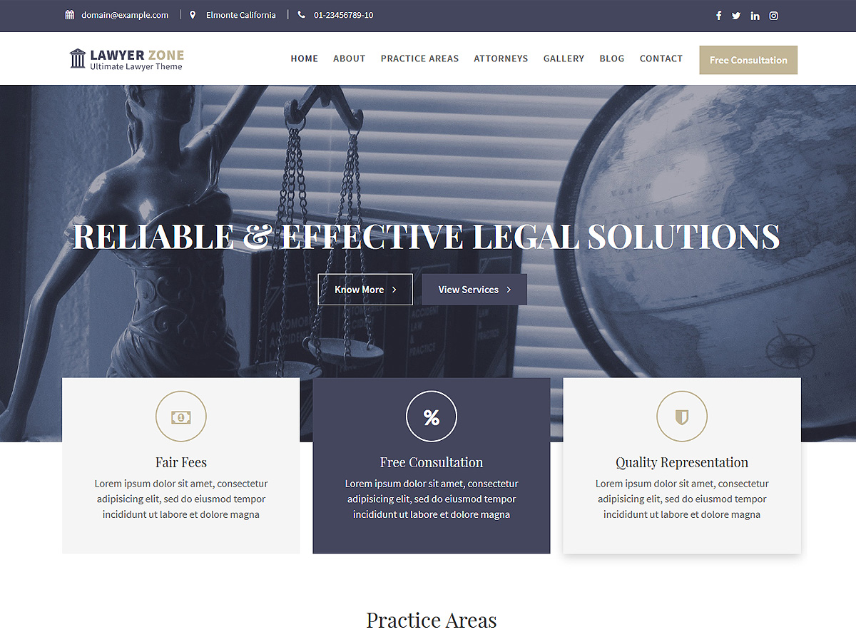 Lawyer Zone Download Free Wordpress Theme 1