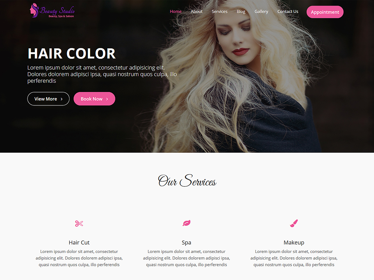 Beauty Studio Download Free Wordpress Theme 1