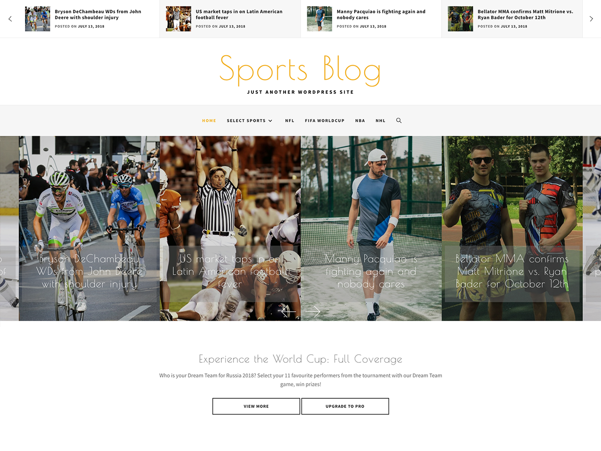 Sports Blog Download Free Wordpress Theme 3