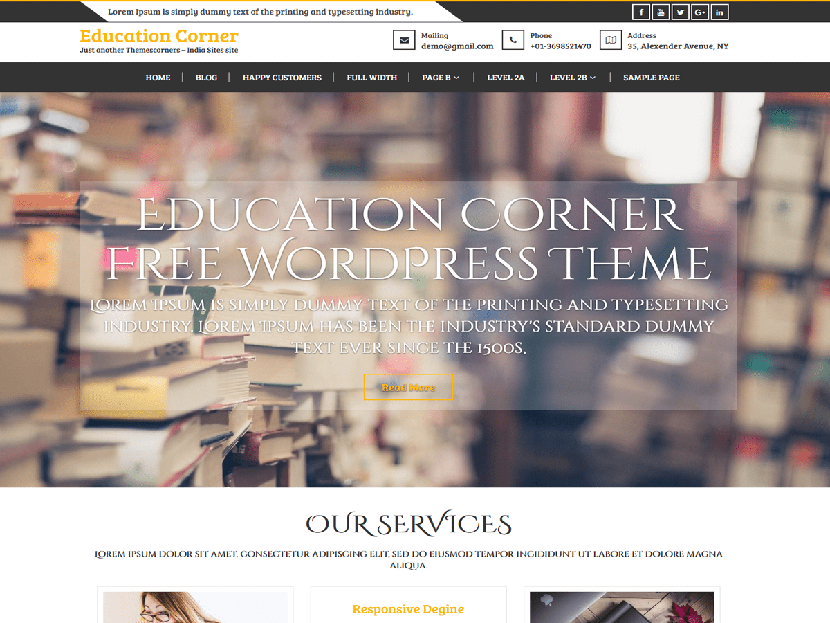 Education Corner Download Free Wordpress Theme 3