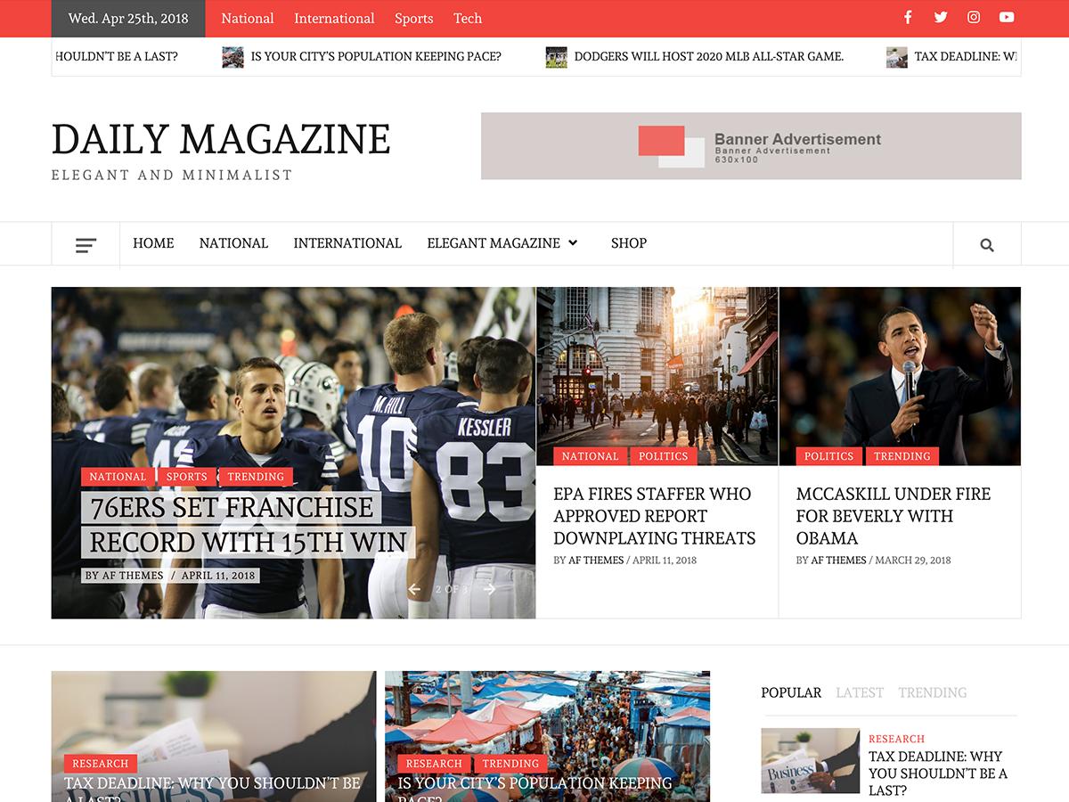 Daily Magazine Download Free Wordpress Theme 1