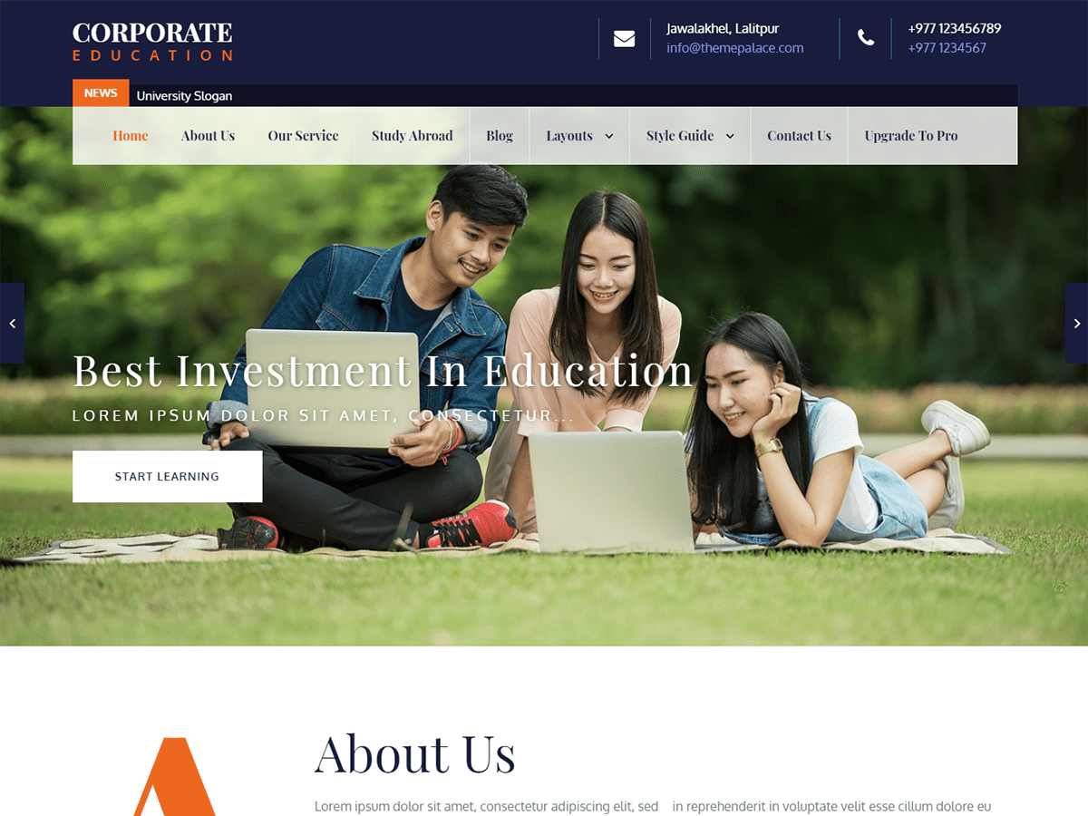Corporate Education Download Free Wordpress Theme 2