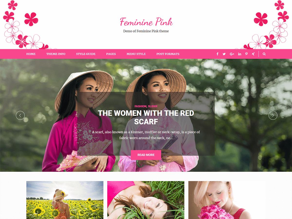 Feminine Pink Download Free Wordpress Theme 2