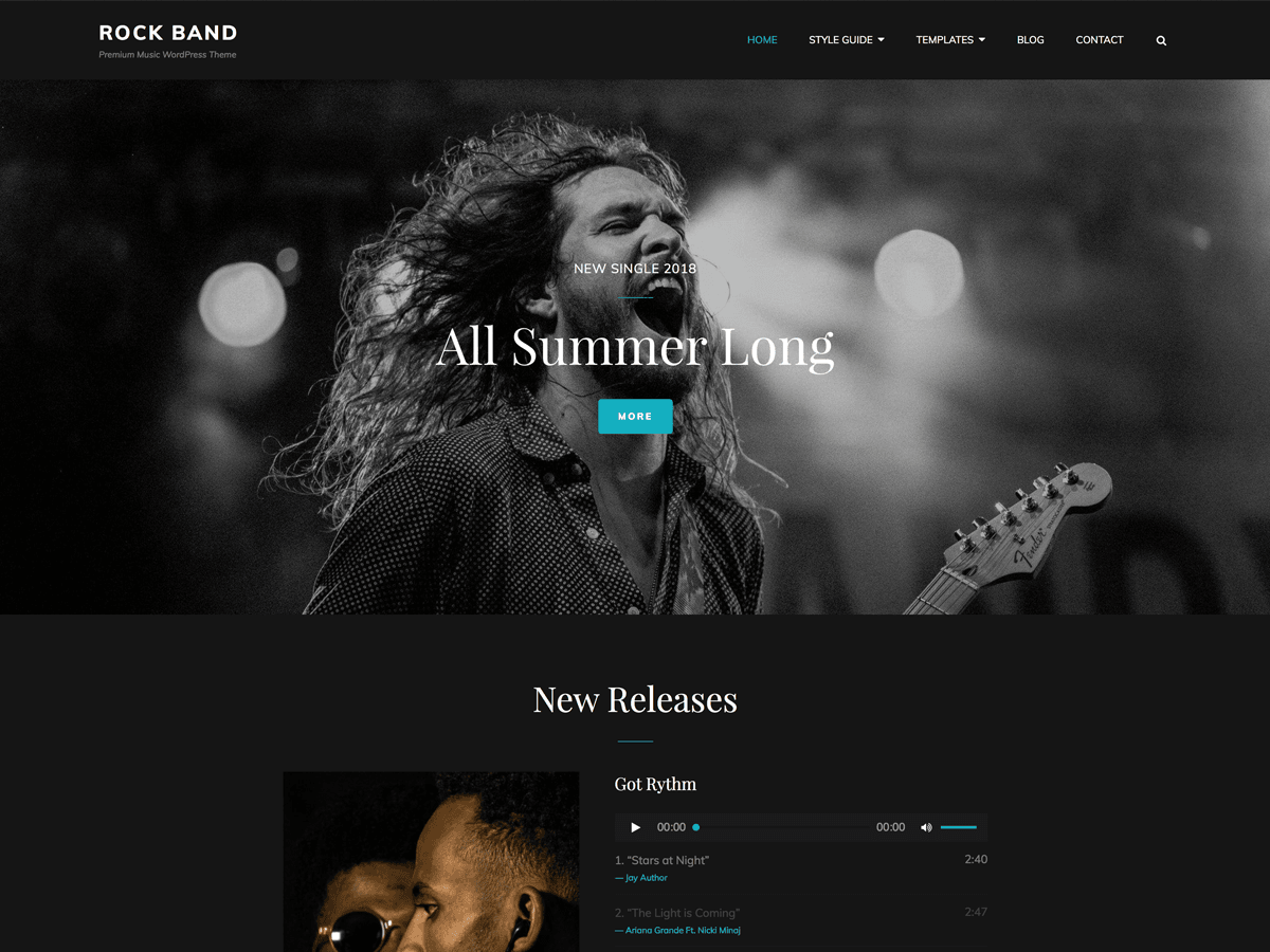 Rock Band Download Free Wordpress Theme 2