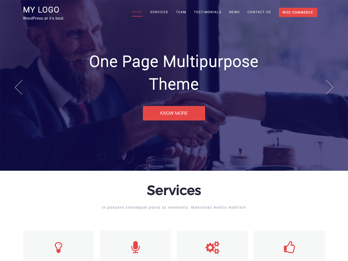 One Page Multipurpose Download Free Wordpress Theme 1