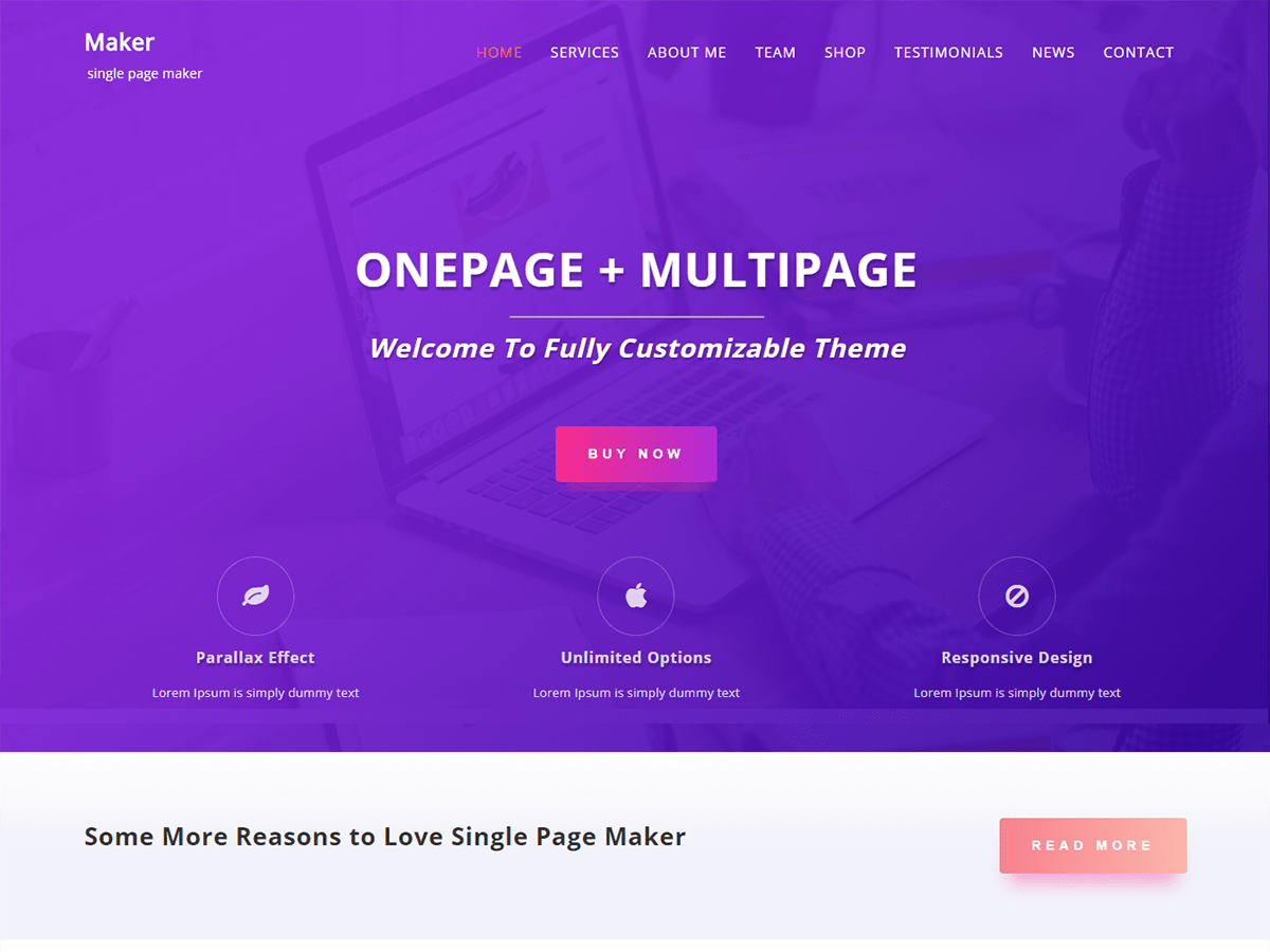 Single Page Maker Download Free Wordpress Theme 5