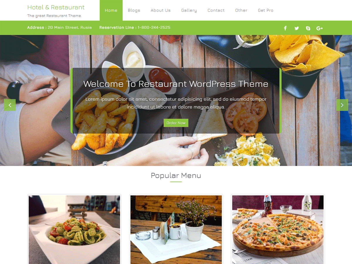 Hotel & Restaurant Download Free Wordpress Theme 2