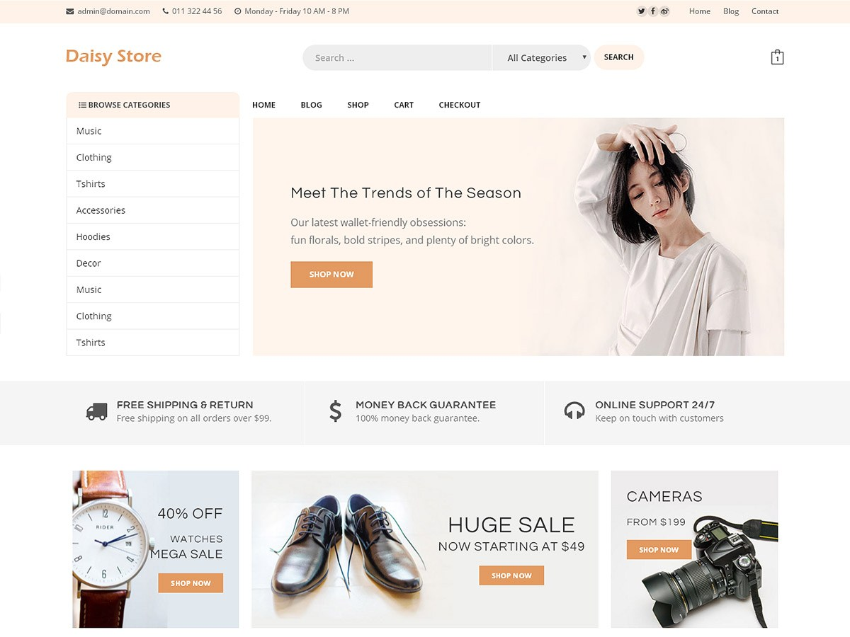 Daisy Store Download Free Wordpress Theme 1