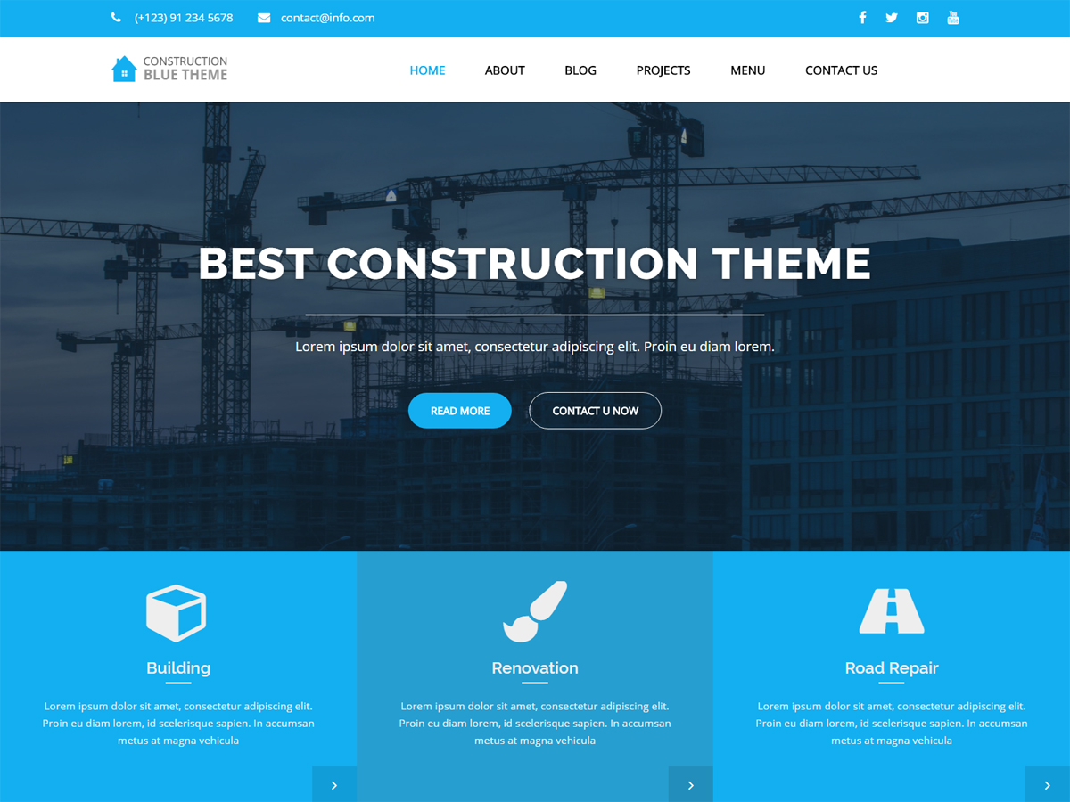 Blue Construction Download Free Wordpress Theme 2