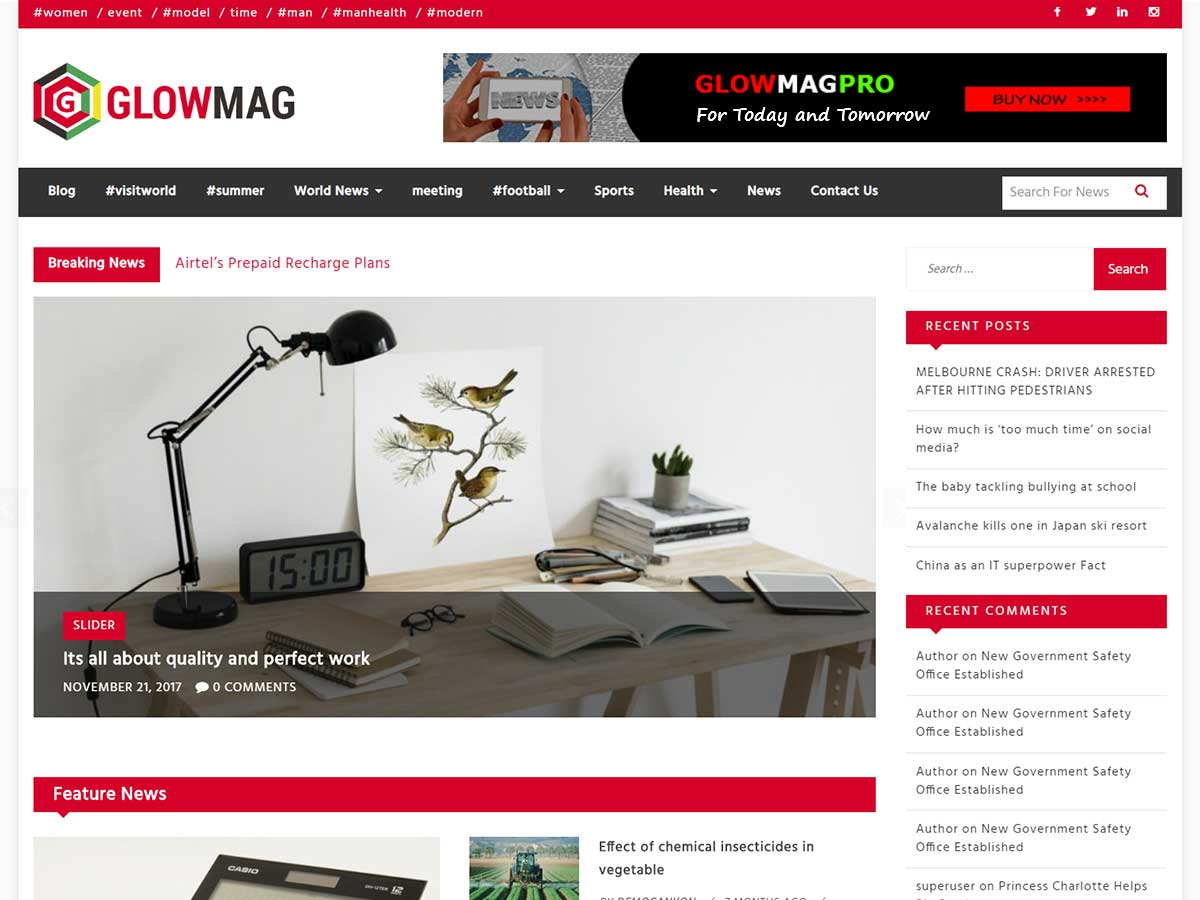 GlowMag Download Free Wordpress Theme 5