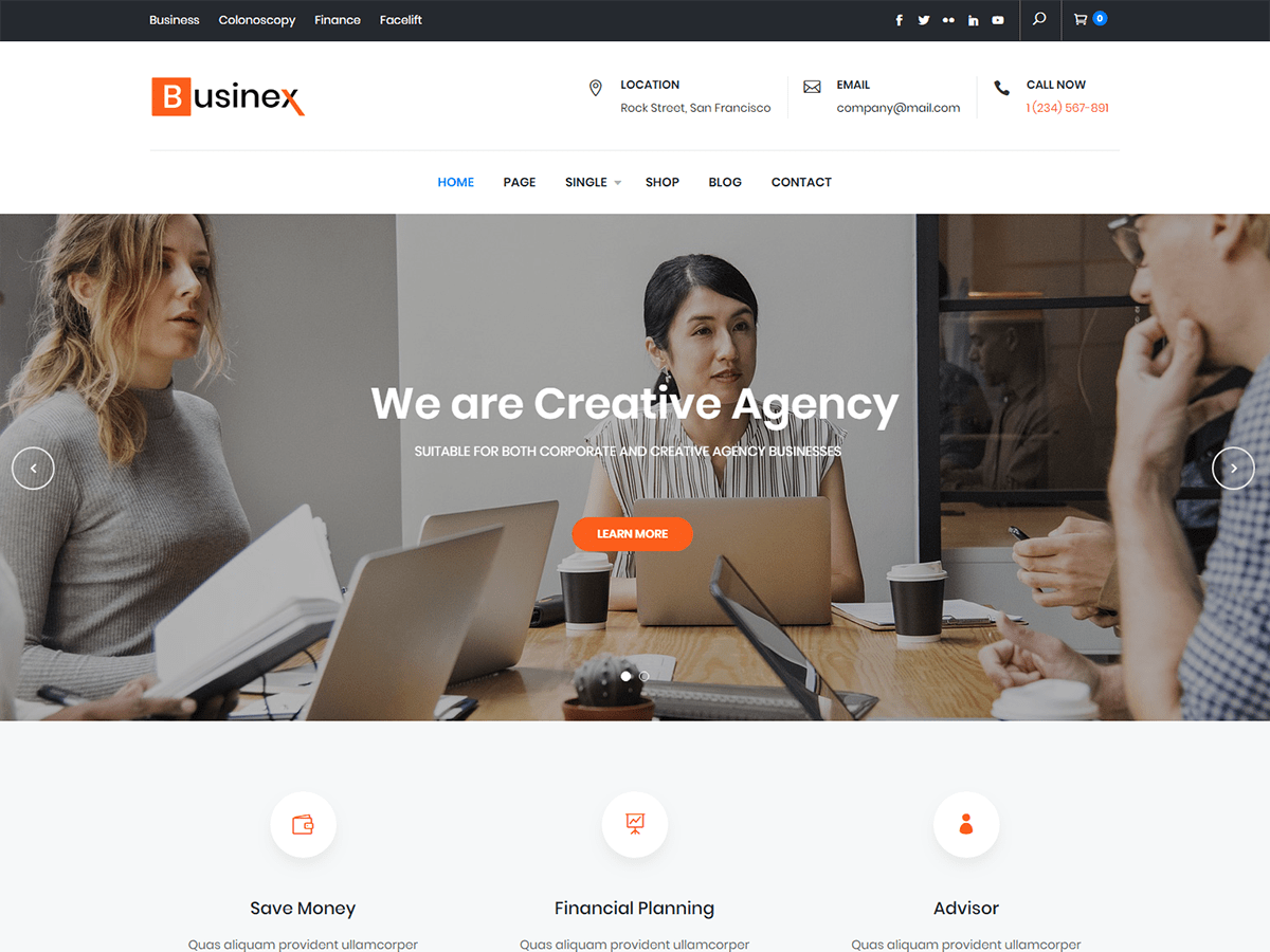 Businex Download Free Wordpress Theme 2