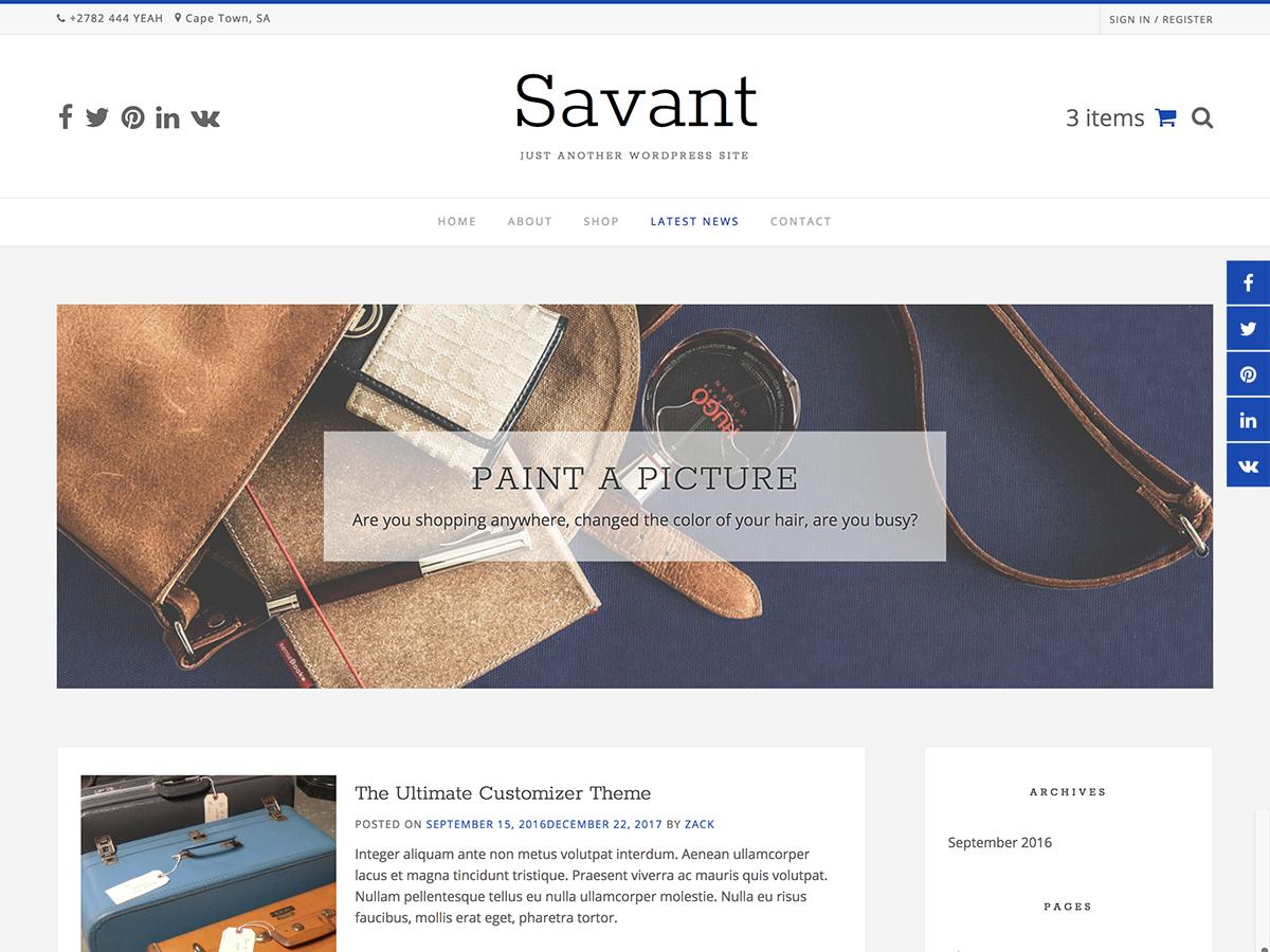 Savant Download Free Wordpress Theme 1