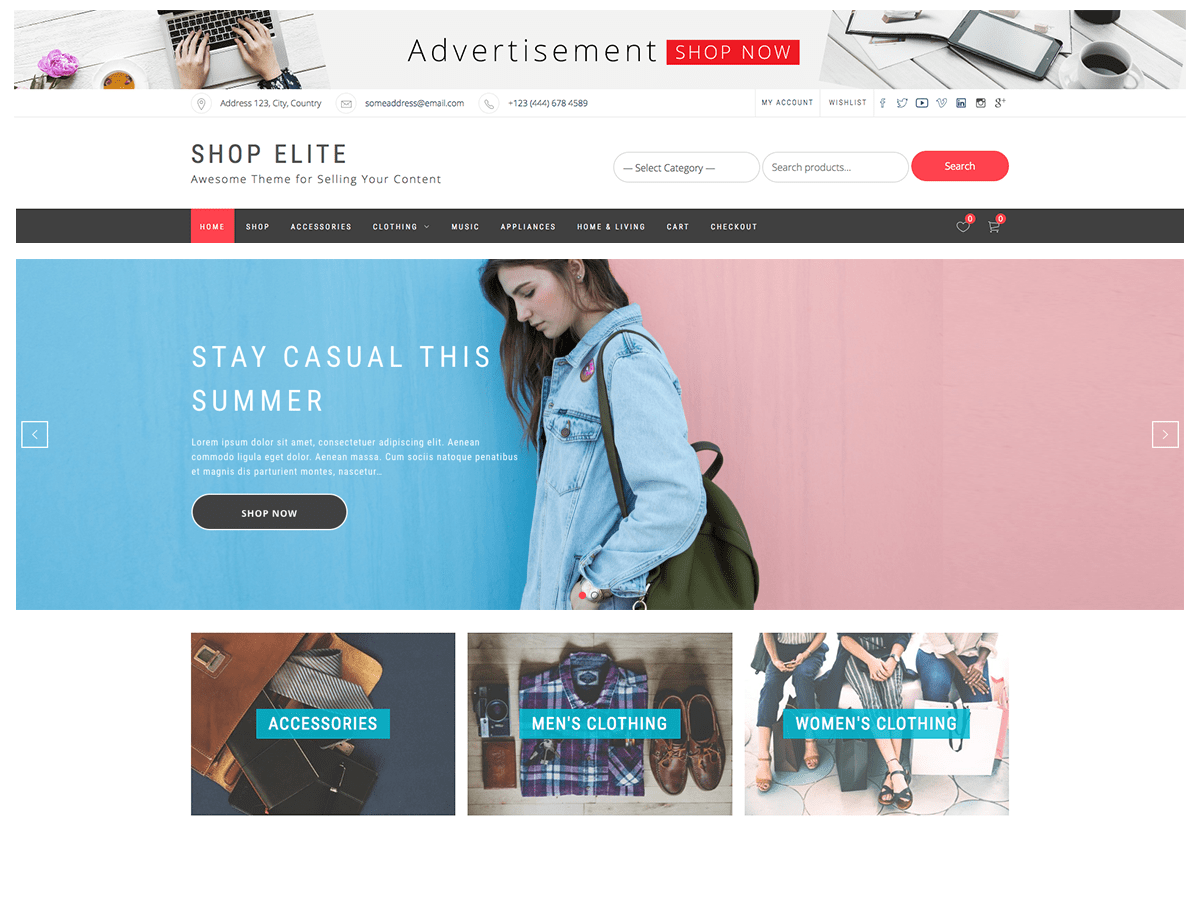 Shop Elite Download Free Wordpress Theme 3