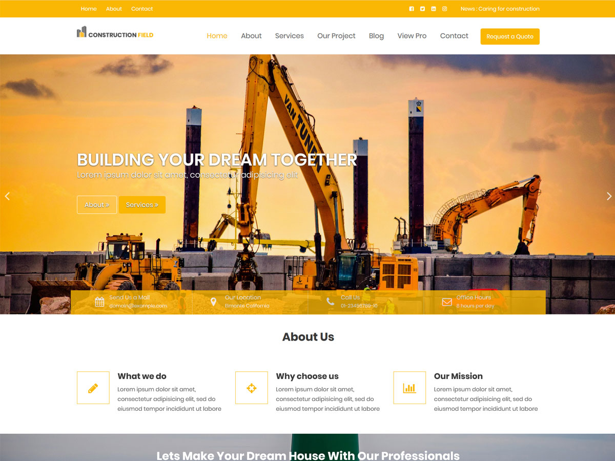 Construction Field Download Free Wordpress Theme 3