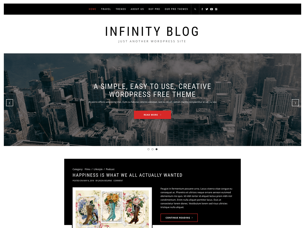 Infinity Blog Download Free Wordpress Theme 1
