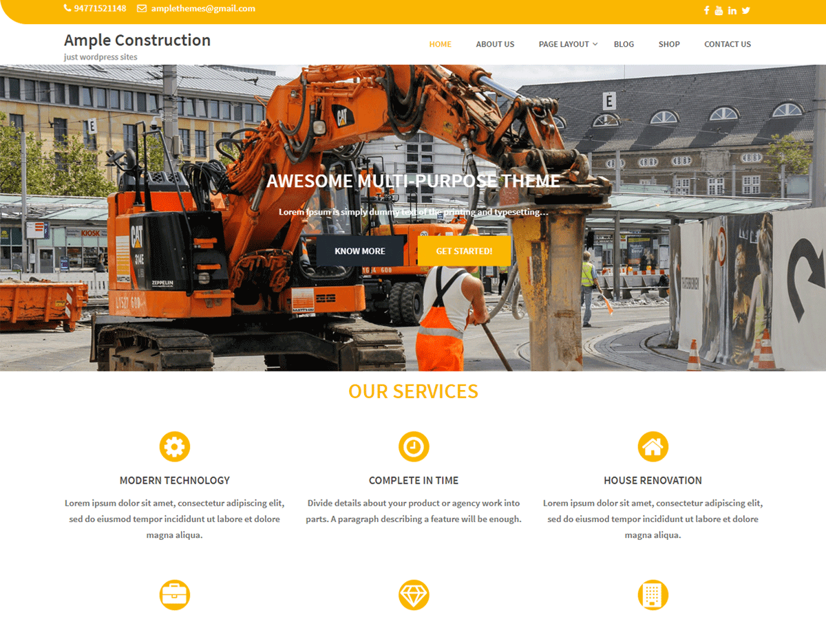 Ample Construction Download Free Wordpress Theme 2