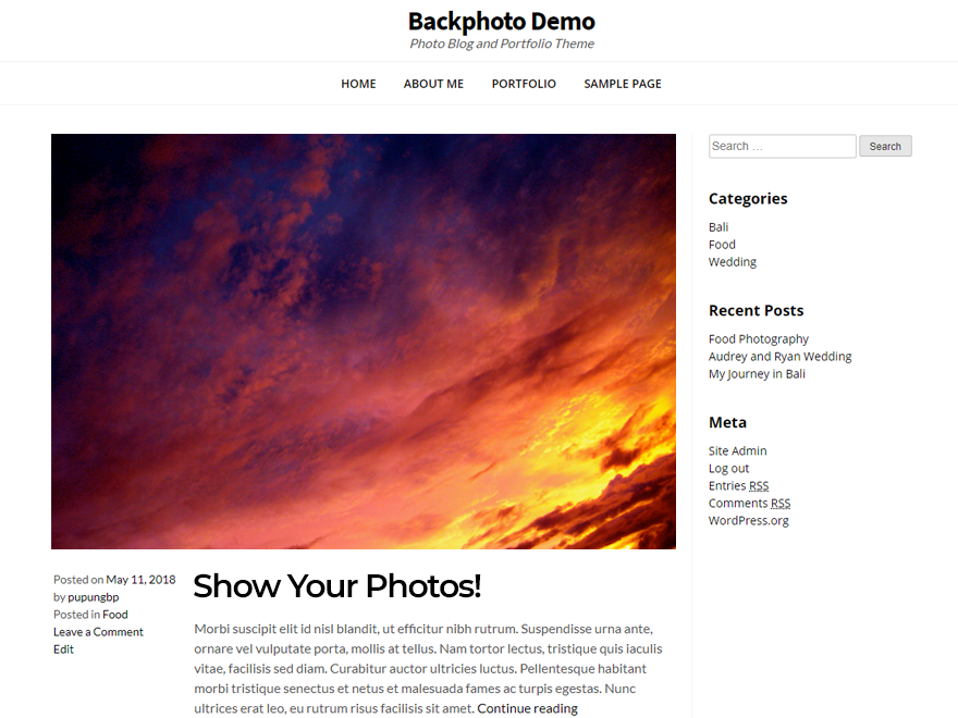 Backphoto Download Free Wordpress Theme 1