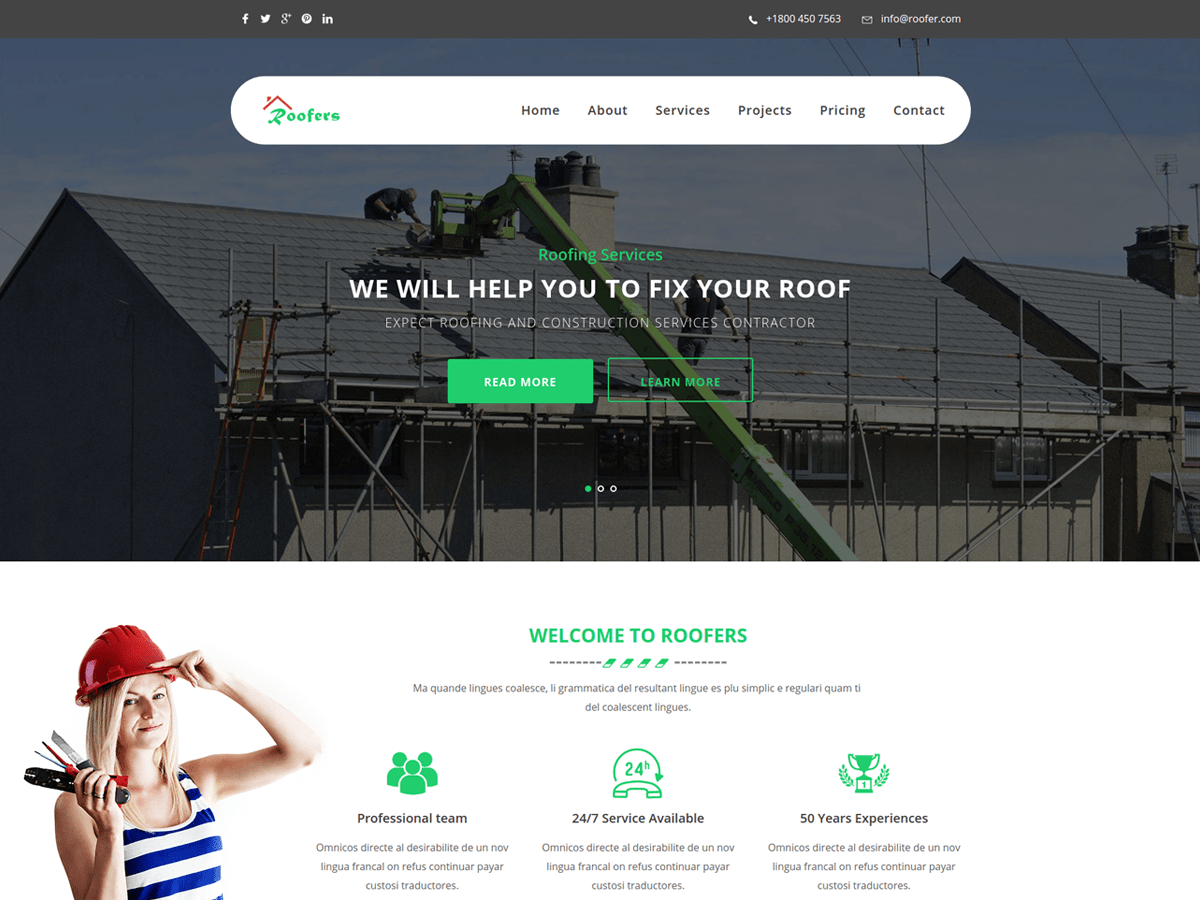 Roofers Download Free Wordpress Theme 2