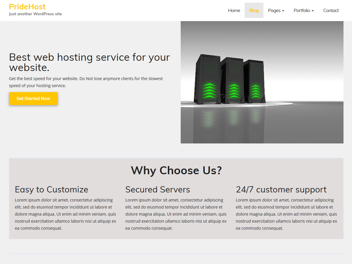 PrideHost Download Free Wordpress Theme 3
