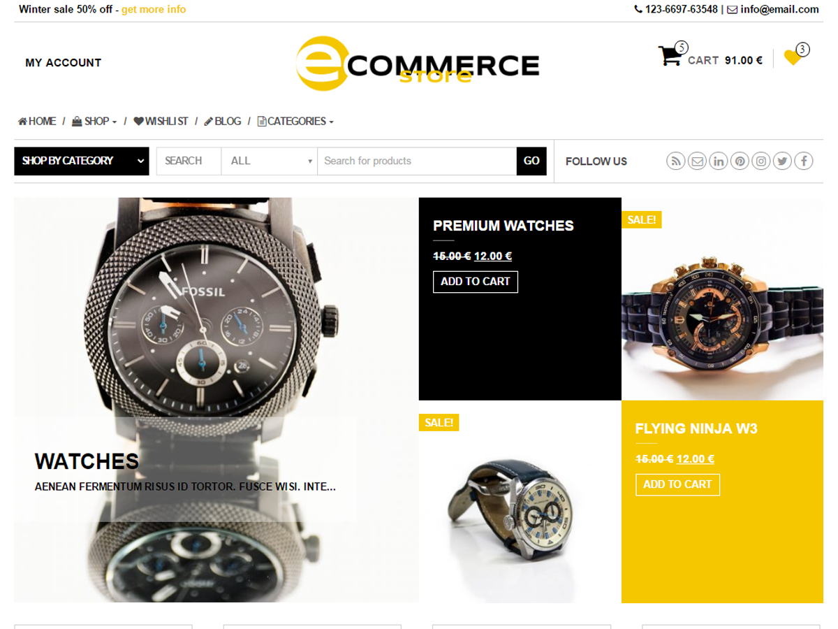 eCommerce Store Download Free Wordpress Theme 3