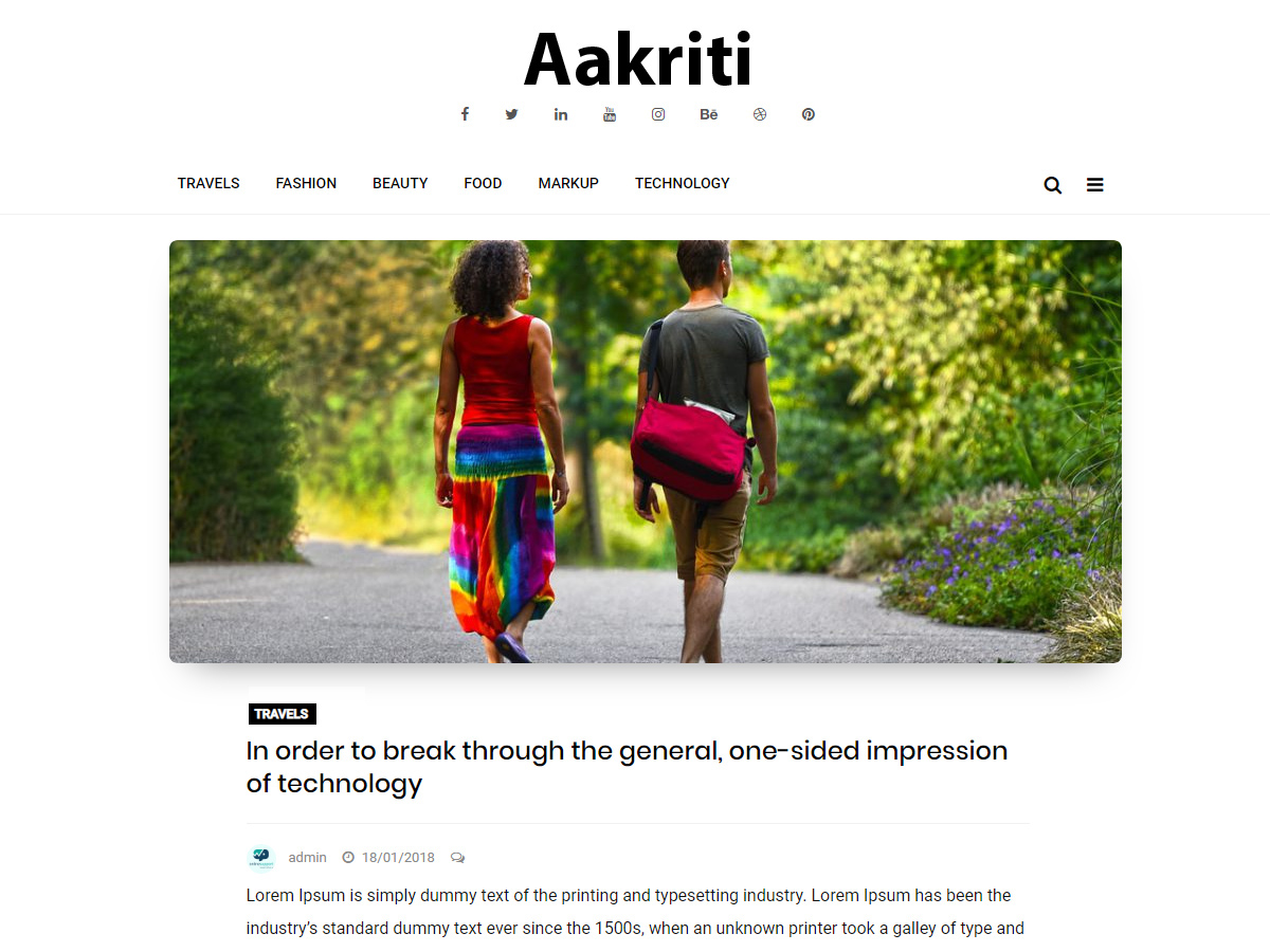 Aakriti Personal Blog Download Free Wordpress Theme 1