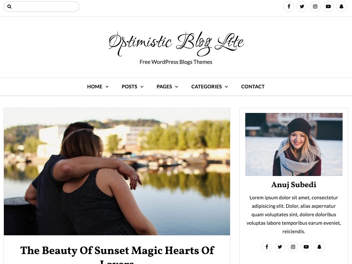 Optimistic Blog Lite Download Free Wordpress Theme 3