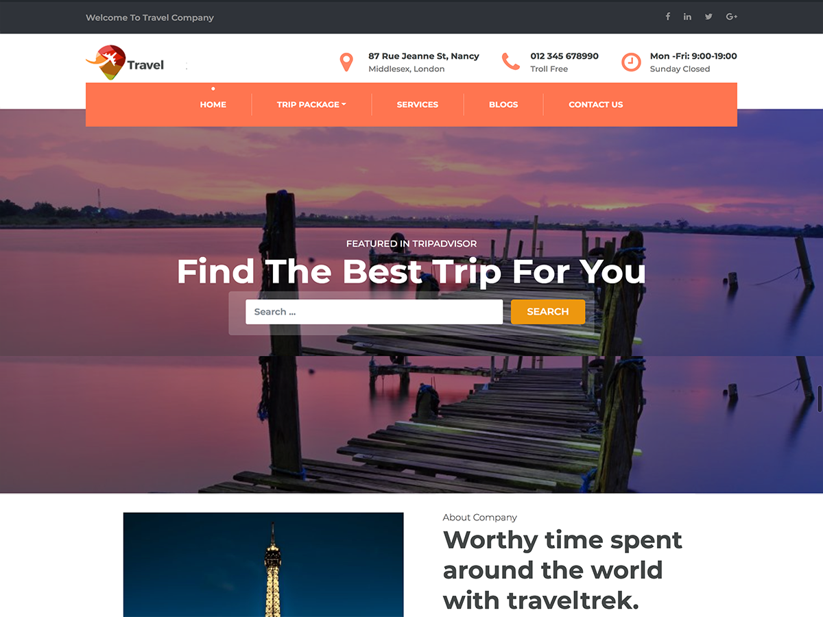 Travel Company Download Free Wordpress Theme 2