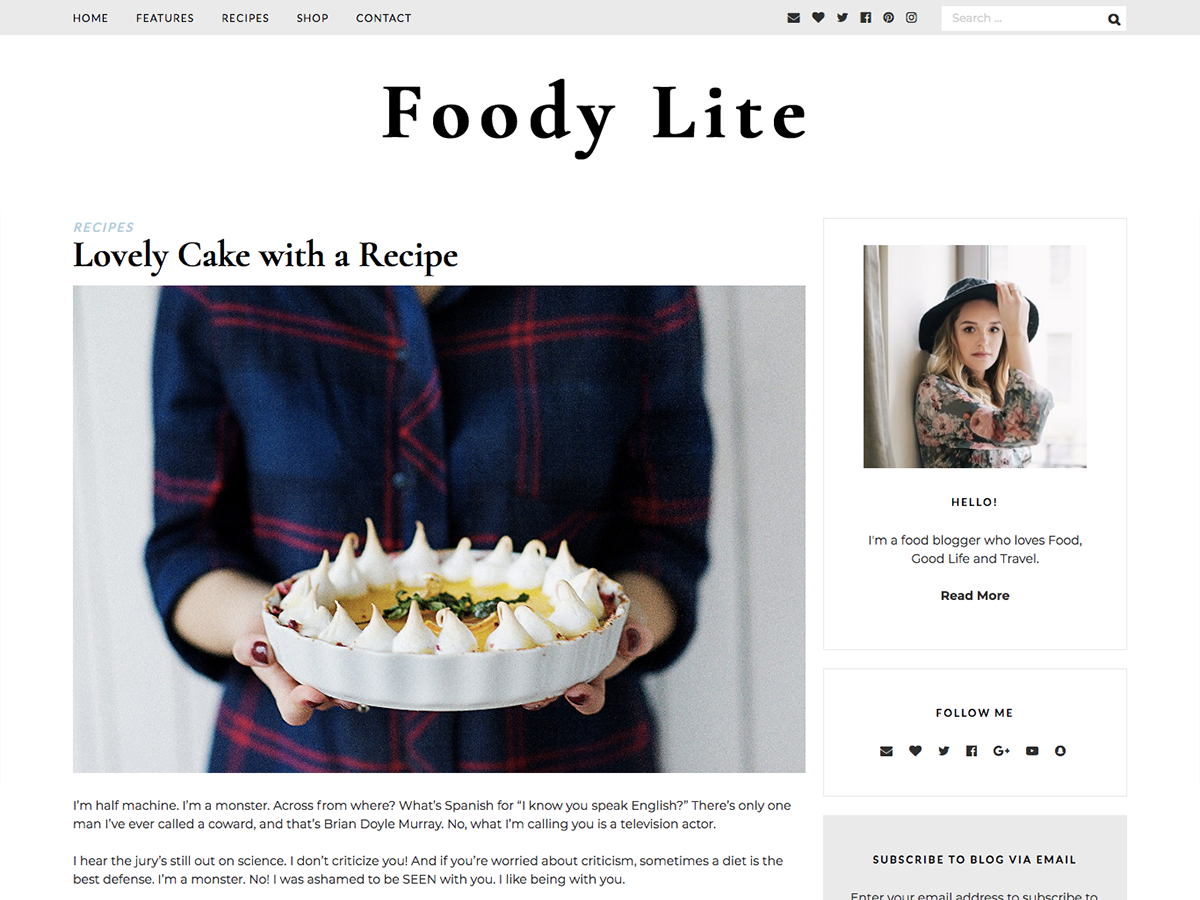 FoodyLite Download Free Wordpress Theme 2