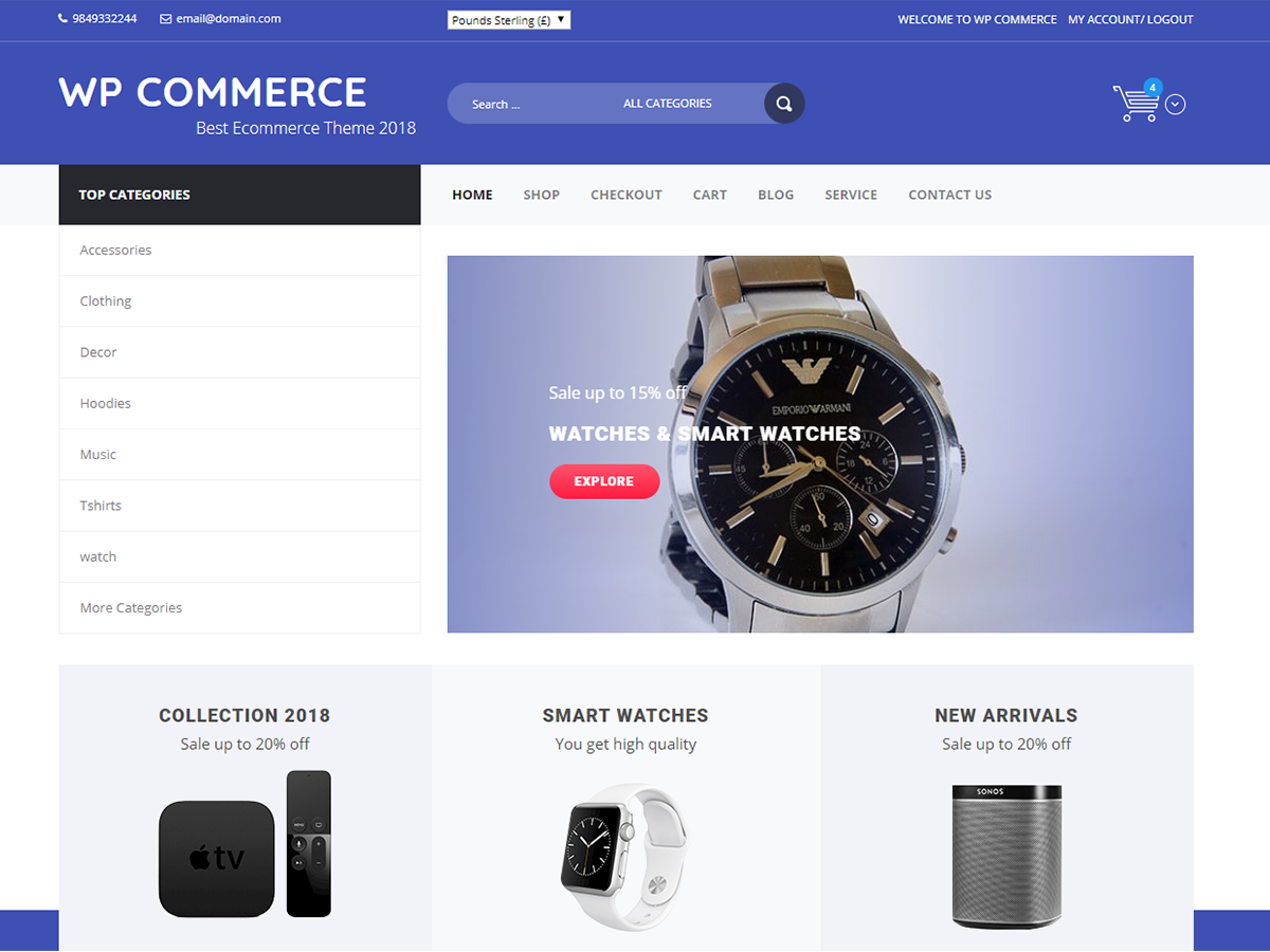 WP Commerce Download Free Wordpress Theme 4