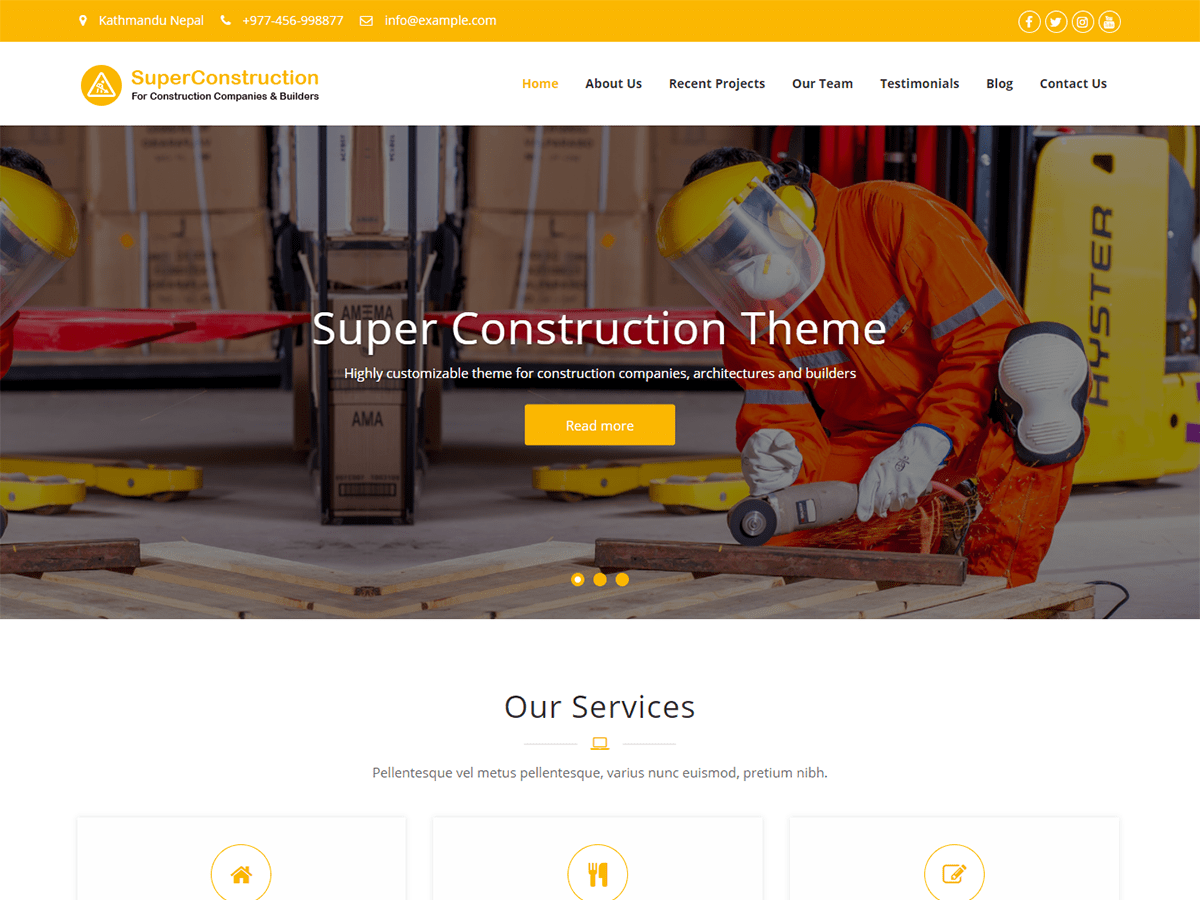 Super Construction Download Free Wordpress Theme 2