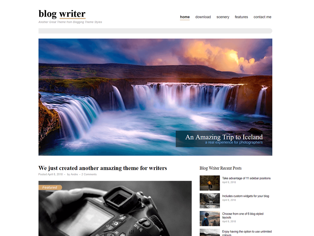 Blog Writer Download Free Wordpress Theme 2